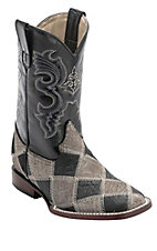 Ferrini® Youth Grey/Black Caiman Print Patchwork w/Black Top Double Welt Square Toe Western Boots