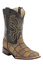 Ferrini® Youth Honey Caiman Print Patchwork w/Dark Brown Top Double Welt Square Toe Western Boots