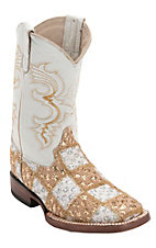 Ferrini® Kid's Gold/White Lace Patchwork w/White Top Double Welt Square Toe Western Boots