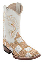 Ferrini® Youth Gold/White Lace Patchwork w/White Top Double Welt Square Toe Western Boots