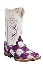 Ferrini® Kid's Purple/White Lace Patchwork w/White Top Double Welt Square Toe Western Boots