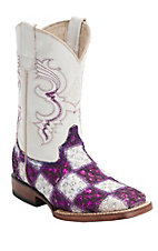 Ferrini® Youth Purple/White Lace Patchwork w/White Top Double Welt Square Toe Western Boots
