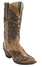 Ferrini® Antique Saddle Tan w/Chocolate Floral Diva Overlay Snip Toe Western Boots