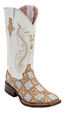 Ferrini® Ladies Gold/White Lace Patchwork w/White Top Double Welt Square Toe Western Boots
