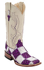 Ferrini® Ladies Purple/White Lace Patchwork w/White Top Double Welt Square Toe Western Boots