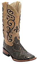 Ferrini Ladies Antique Brown Tooled w/Tan Sequin Inlay Top Double Welt Square Toe Western Boots