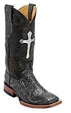 Ferrini Ladies Antique Black/Silver Cross Tooled w/Cross Inlay Top Double Welt Square Toe Western Boots