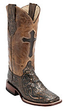 Ferrini Ladies Brown/Copper Cross Tooled w/Cross Inlay Top Double Welt Square Toe Western Boots