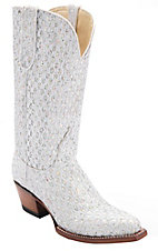 Ferrini® Ladies White/Silver Metallic Rockstar Snip Toe Western Boots