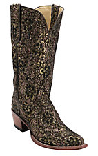 Ferrini Ladies Gold/Copper/Black Metallic Lace Rockstar Snip Toe Western Boots
