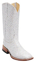 Ferrini® Ladies White/Silver Metallic Rockstar Square Toe Western Boots