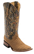 Ferrini Ladies Honey Suede Gator Print w/Distressed Brown Toper Double Welt Square Toe Western Boots