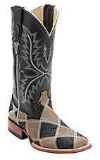 Ferrini® Ladies Grey/Black Caiman Print Patchwork w/Black Top Double Welt Square Toe Western Boots