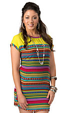 Karlie® Women's Neon Yellow with Multi Stripes Chiffon Short Sleeve Dress