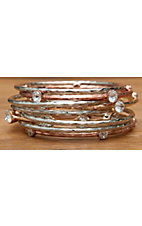 Wear N.E. Wear® Silver, Copper, & Gold w/ Clear Crystals 9 Piece Bangle Bracelet Set