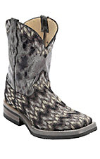 Ferrini Ladies Grey/Purple/Black Zig-Zag Chevron Cowgirl Cool w/Gator Print Top Double Welt Square Toe Western Boots