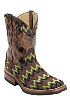 Ferrini Ladies Green/Brown/Bronze/Black Zig-Zag Chevron Cowgirl Cool w/Gator Print Top Double Welt Square Toe Western Boots