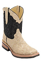 Ferrini Ladies Gold/Cream w/Black Top Metallic Lace Cowgirl Cool Double Welt Square Toe Western Boots
