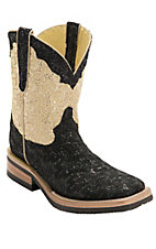 Ferrini® Ladies Black w/Gold/Cream Top Metallic Lace Cowgirl Cool Double Welt Square Toe Western Boots