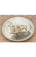 Montana Silversmiths® German Silver Large Oval Christian Cowboy