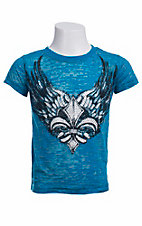 Rock & Roll Cowgirl® Girls' Turquoise with Winged Fleur De Lis & Crystals Short Sleeve Burnout Tee