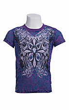 Rock & Roll Cowgirl® Girls' Purple & Blue Leopard w/ Winged Cross Short Sleeve Burnout Tee