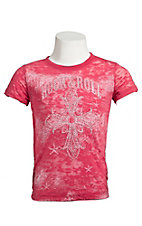 Rock & Roll Cowgirl® Girls' Coral Logo w/ Cross & Crystals Short Sleeve Burnout Tee