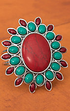 Silver with Turquoise and Red Flower Concho Hinge Bracelet