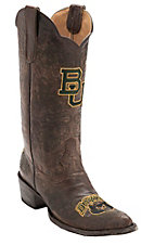 Gameday® Women's Distressed Brown Baylor University Embroidered Snip Toe Western Boots