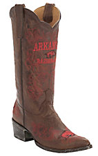 Gameday® Women's Distressed Brown Arkansas University Embroidered Snip Toe Western Boots