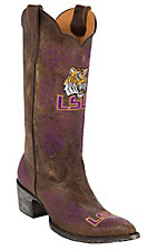 Gameday Women's Louisiana State University Distressed Brown Embroidered Snip Toe Western Boots