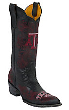 Gameday Women's Texas A&M University Distressed Black Embroidered Snip Toe Western Boots