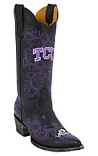Gameday Women's Texas Christian University Distressed Black Embroidered Snip Toe Western Boots