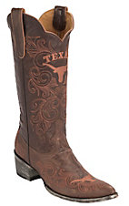 Gameday® Women's University of Texas Distressed Brown Embroidered Snip Toe Western Boots