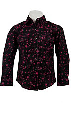 Rock 47™ by Wrangler® Girls Black w/ Pink Stars Long Sleeve Western Shirt
