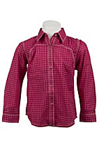 Rock 47™ by Wrangler® Girls Pink & Red Plaid w/ Rose Long Sleeve Western Shirt