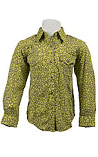 Rock 47™ by Wrangler® Girls Lime & Grey Cheetah Print Long Sleeve Western Shirt