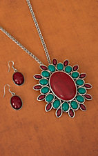 Silver with Turquoise and Red Flower Concho Pendant Necklace and Earrings Jewelry Set