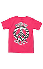 Girlie Girl® Girls Pink Zebra Peace Out Short Sleeve Tee