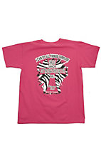 Girlie Girl® Girls Pink with Zebra I Can Do All Things Short Sleeve Tee