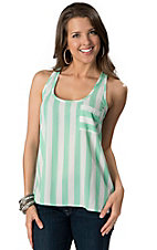 Karlie® Women's Mint and White Stripe w/ Pocket Sleeveless Fashion Tank Top