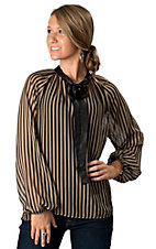 Karlie® Ladies Tan and Black Striped with Black Tie at Neck Long Sleeve Sheer Fashion Top
