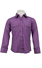 Wrangler® Girl's Purple w/ Silver Lurex & Dots Long Sleeve Western Shirt