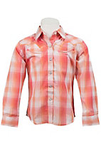 Wrangler® Girl's Pink, Orange & White Plaid Long Sleeve Western Shirt
