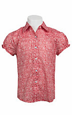 Wrangler® Girl's Red & White Floral Print Short Sleeve Western Shirt