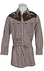 Rock 47? by Wrangler� Girls Brown & White Check Long Sleeve Western Dress