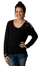Vintage Havana® Women's Black and Grey with Gold Studs on Shoulder Long Sleeve Sweater Fashion Top