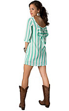 Karlie® Women's Mint and White Stripe Print w/ Bow Back 3/4 Sleeve Dress
