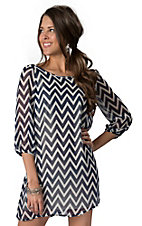 Karlie® Women's Navy and White Chevron Print w/ Bow Fabrication 3/4 Sleeve Dress