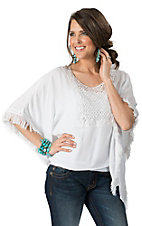 Karlie Women's White with Crochet & Fringe Flare Sleeved Top